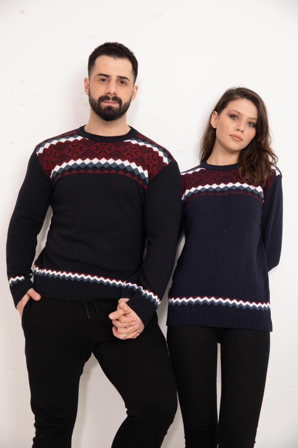 Navy-blue Patterned Knitwear Sweater for couple