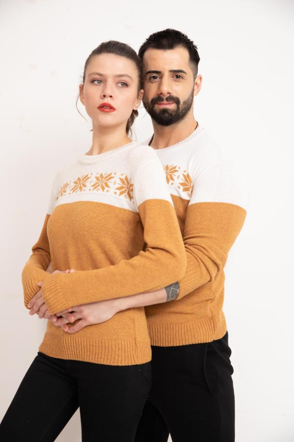 Yellow Front Patterned Couples Knitwear Sweater