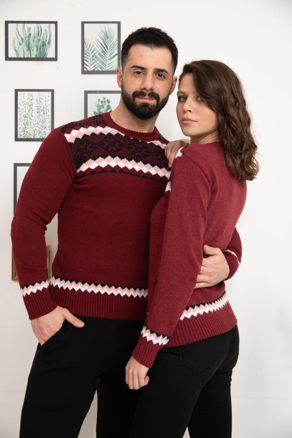Maroon Patterned Knitwear Sweater for couple