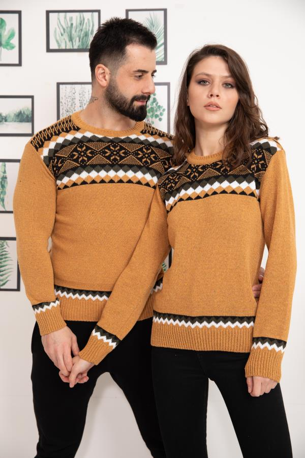 Saffron Patterned Knitwear Sweater for couple