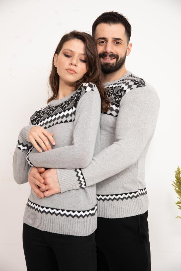 Grey Patterned Knitwear Sweater for couple
