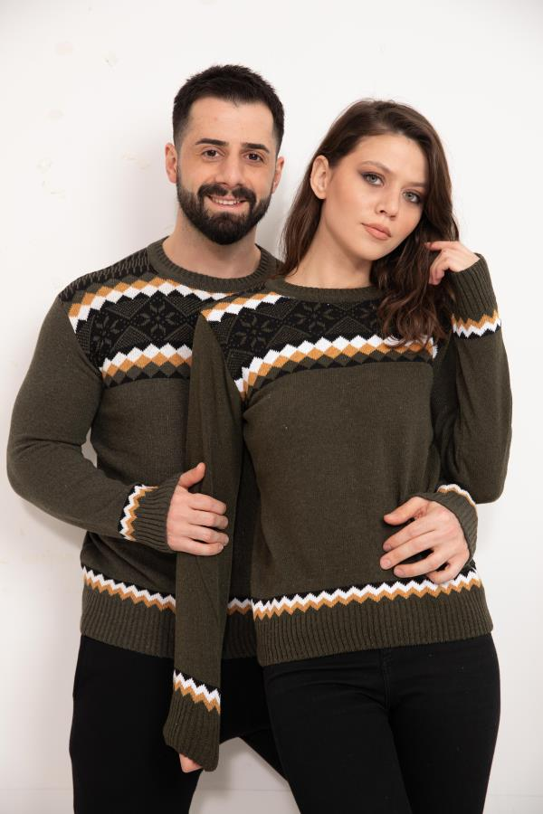 Olive Patterned Knitwear Sweater for couple