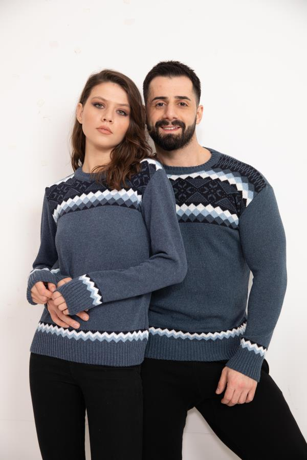 Indigo Patterned Knitwear Sweater for couple