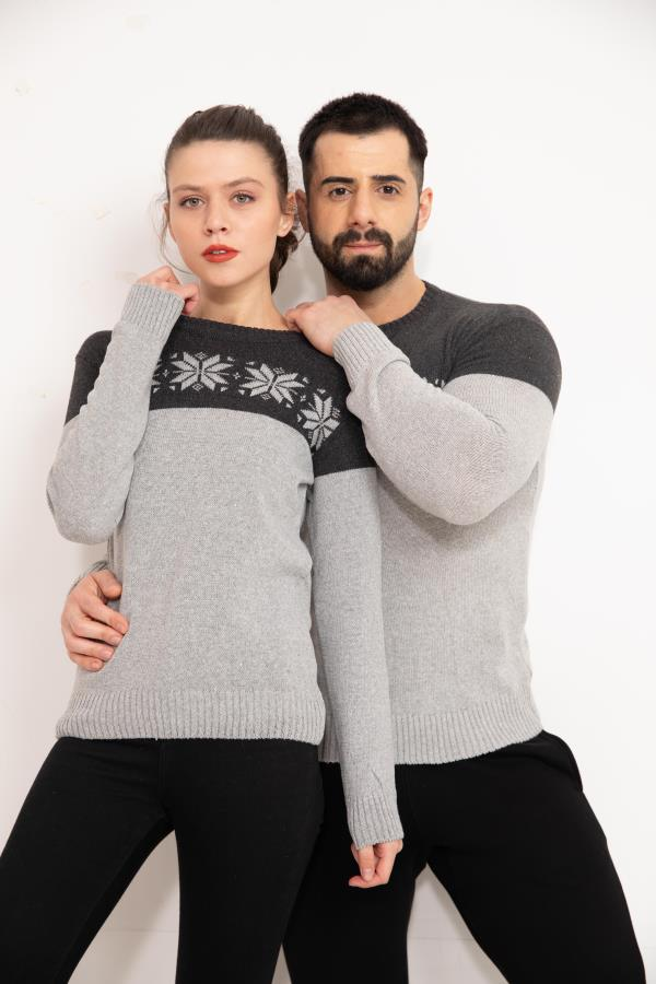 Grey Front Patterned Couples Knitwear Sweater