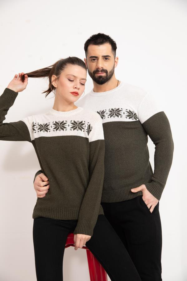Olive Front Patterned Couples Knitwear Sweater.