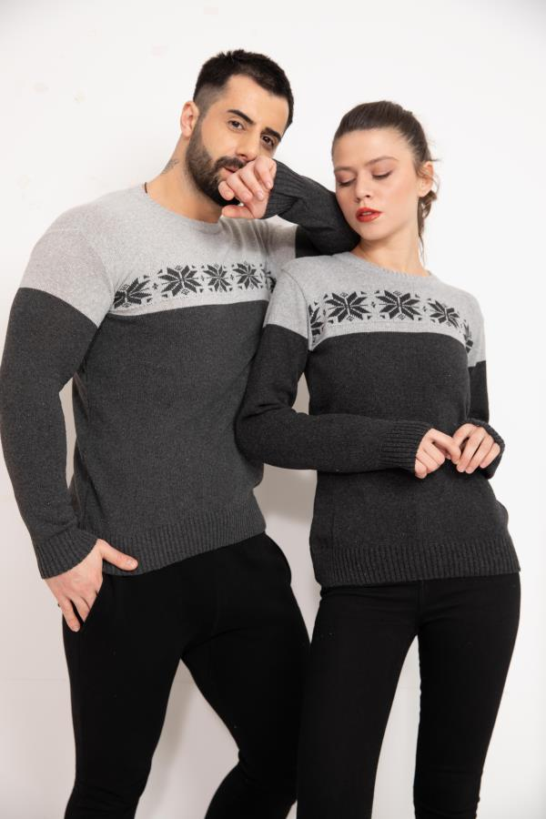 Dark-grey Front Patterned Couples Knitwear Sweater