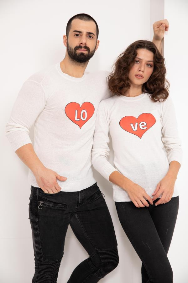 Off-white heart-Printed Knitwear Sweater For Couples