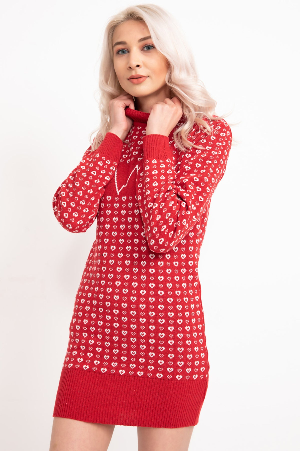 Red Heart Printed Knitwear Tunic