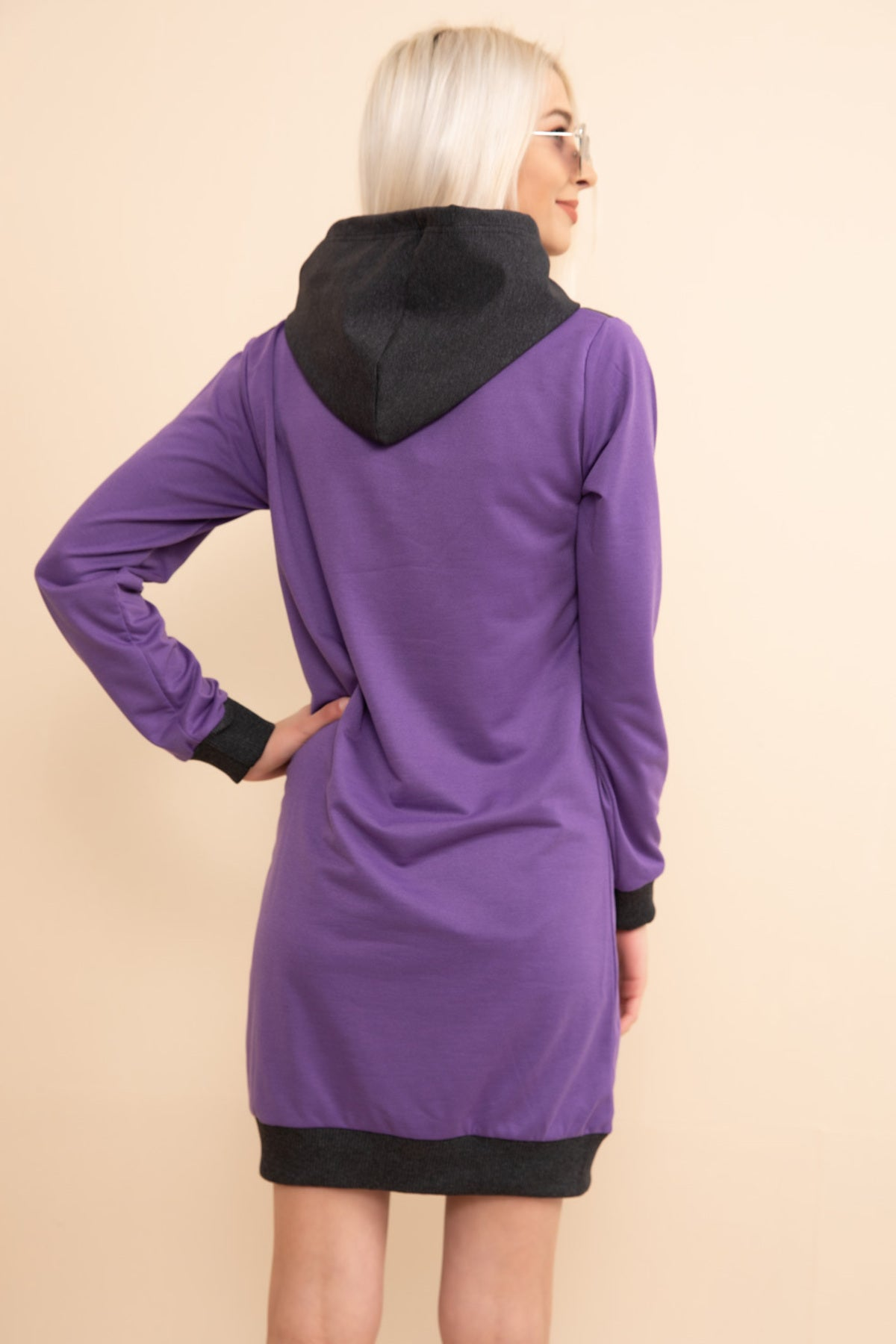 Purple Kangaroo Pocket Hooded Sweat Tunic