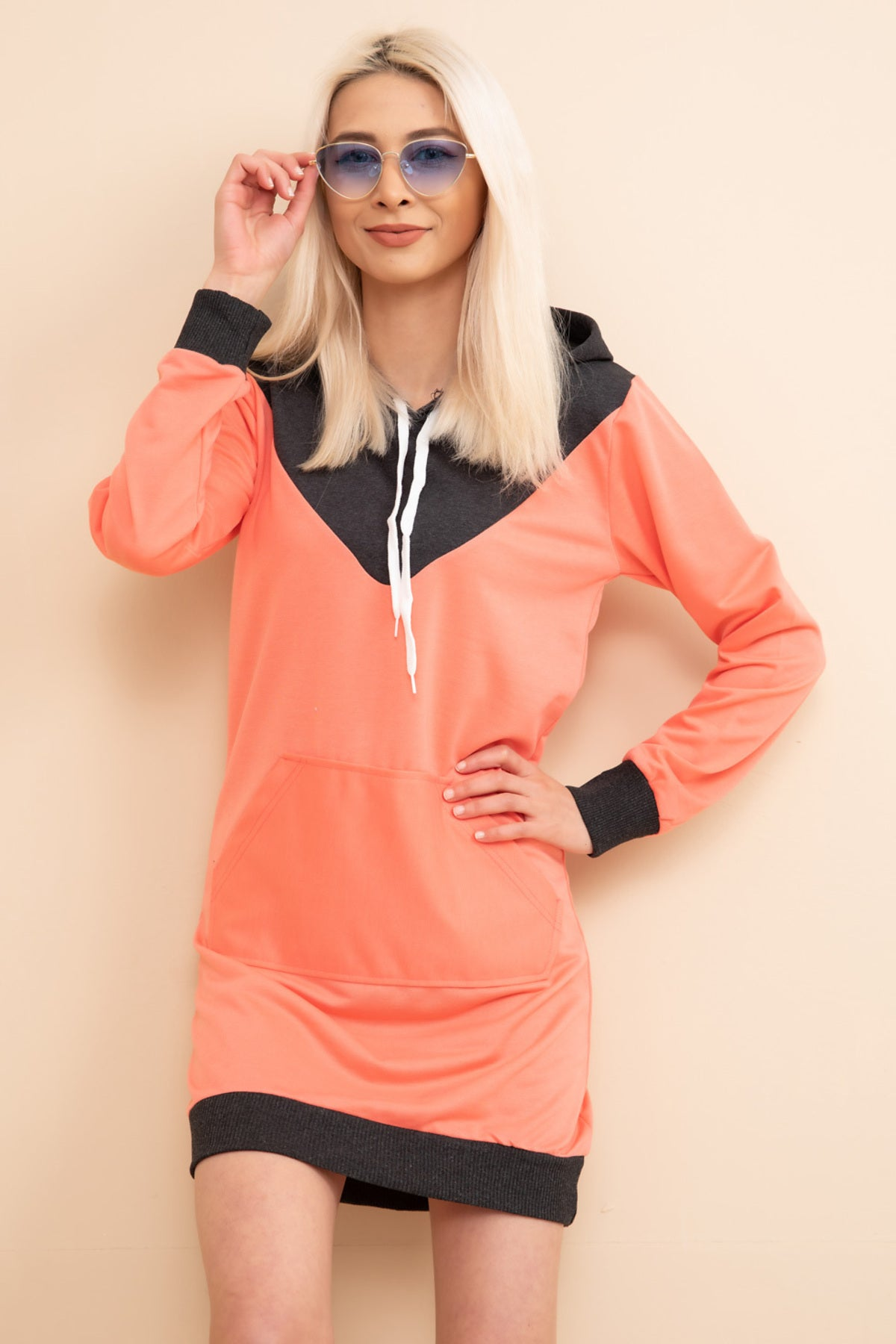 Pomegranate Kangaroo Pocket Hooded Sweat Tunic