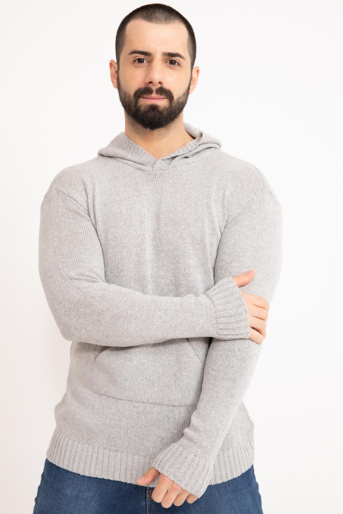 Grey Hooded Men's Knitwear Sweater