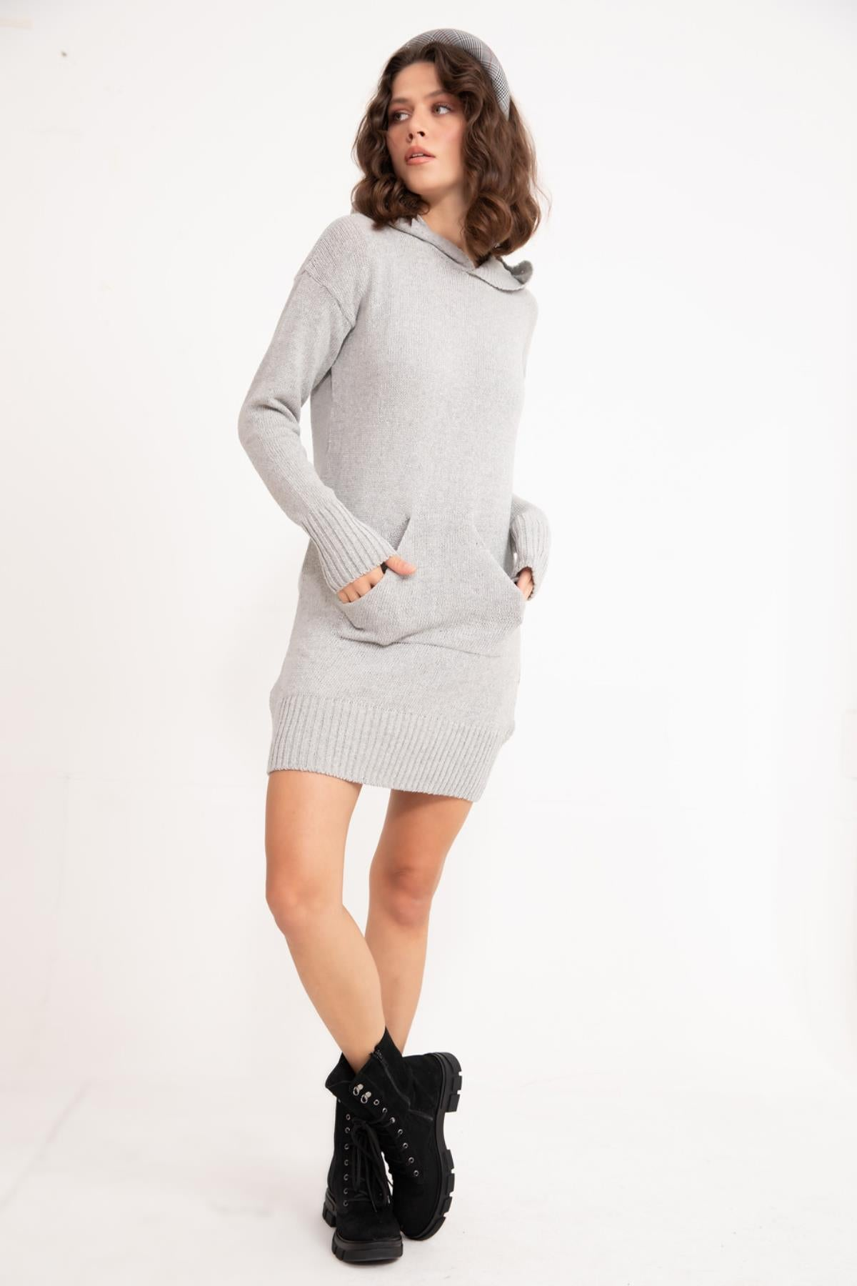 Grey Hooded Knitwear Tunic