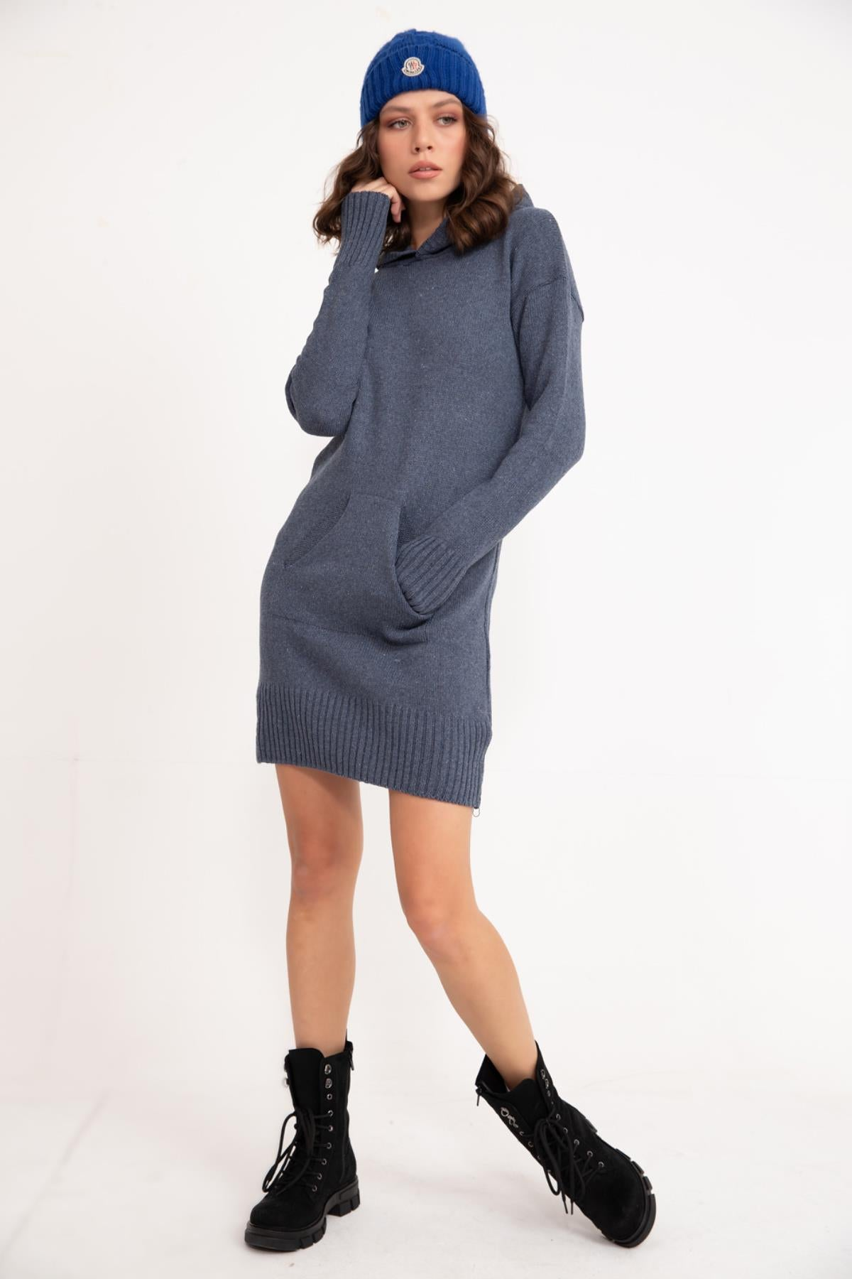 Indigo Hooded Knitwear Tunic