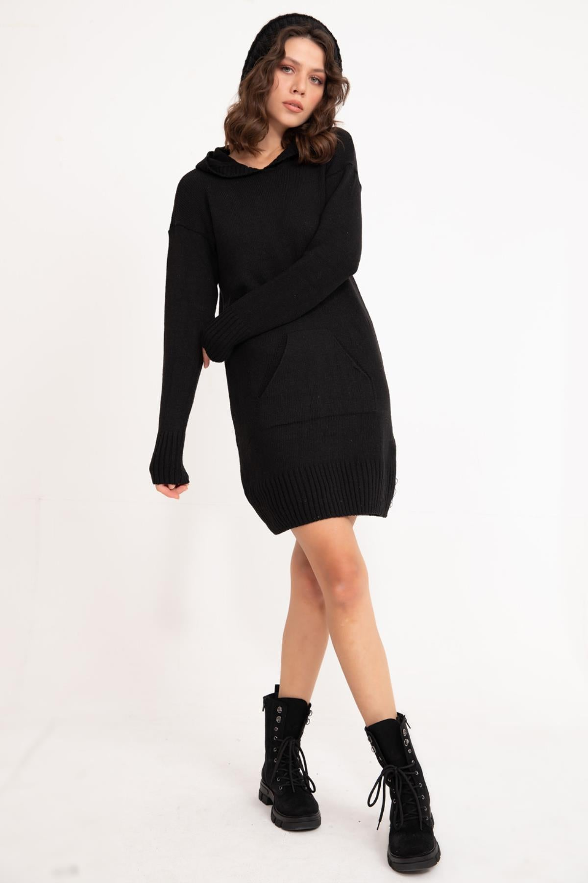 Black Hooded Knitwear Tunic
