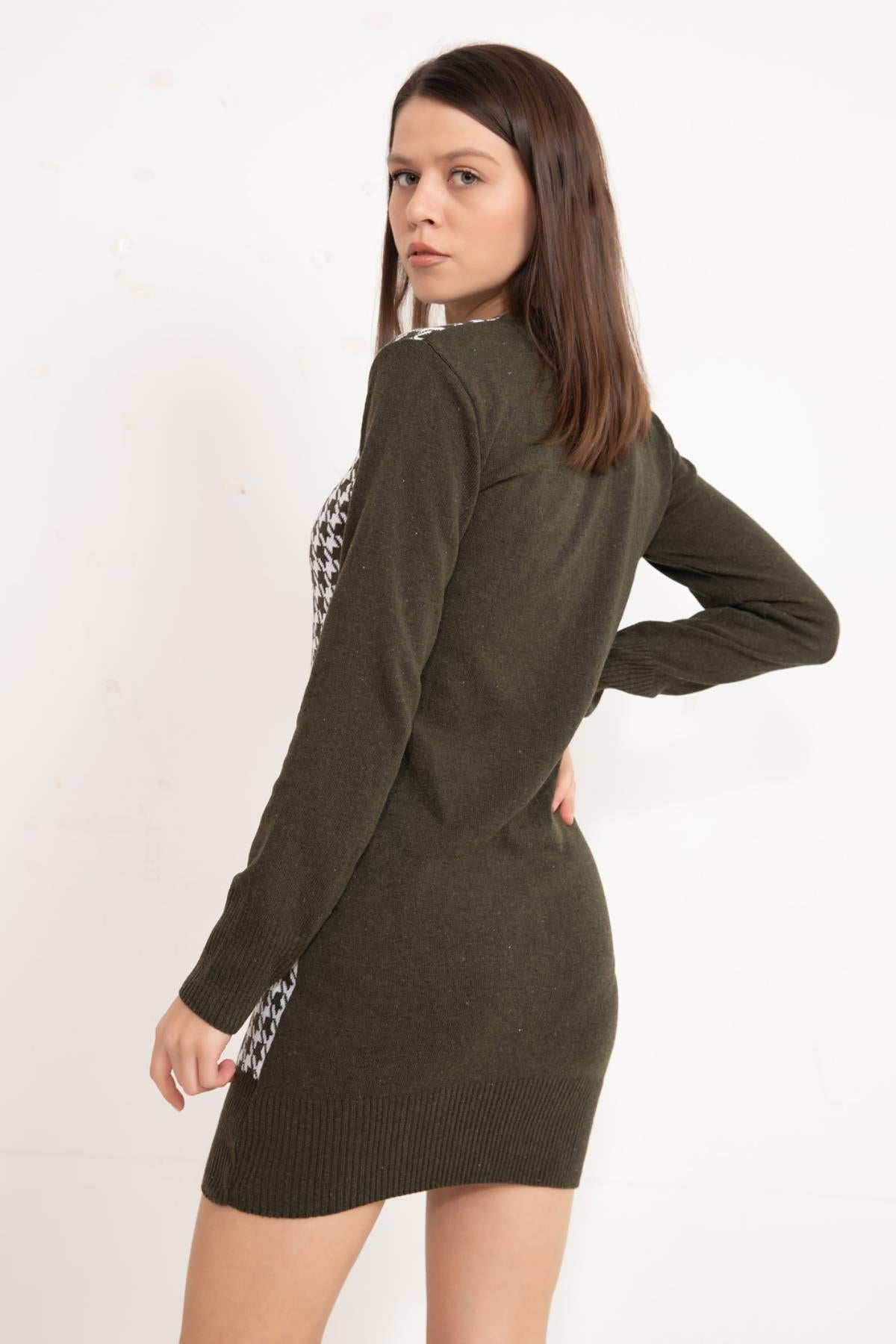 Olive Front patterned knitwear tunic
