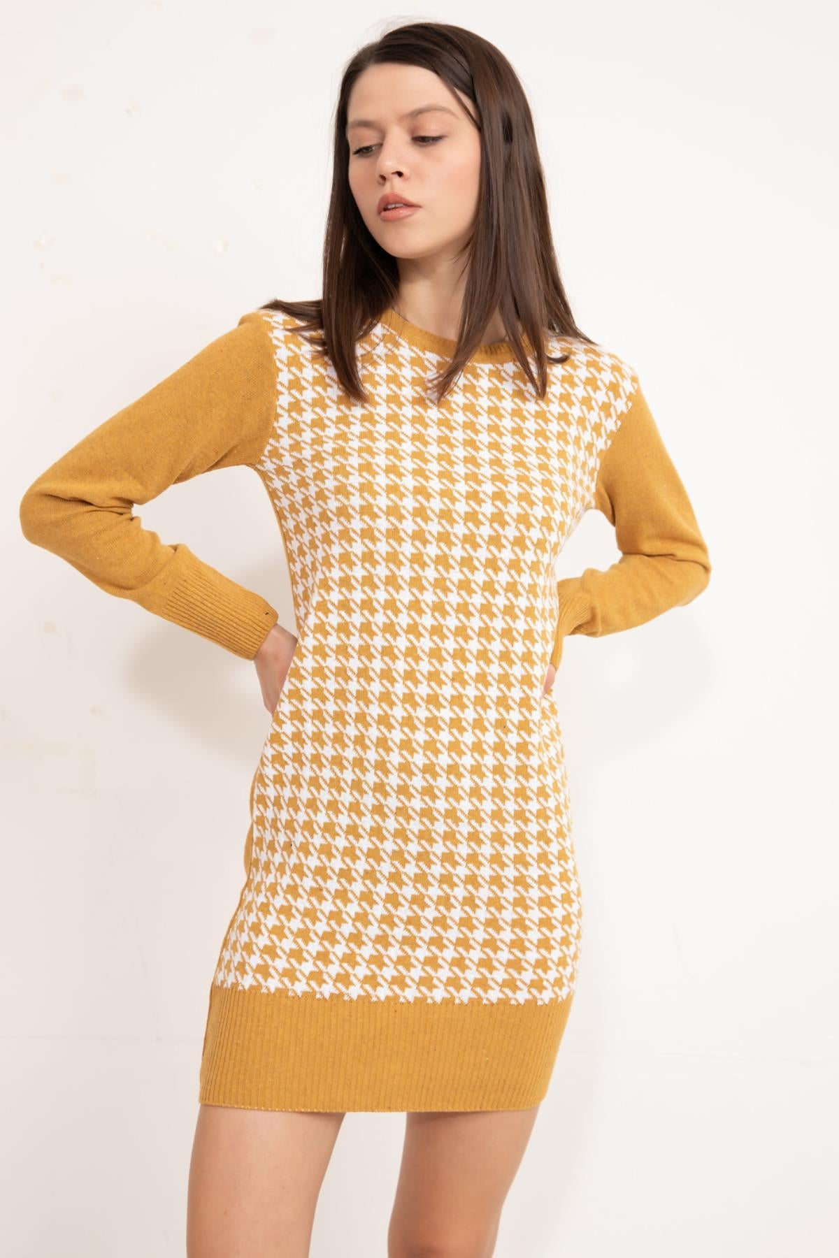 Saffron Front patterned knitwear tunic