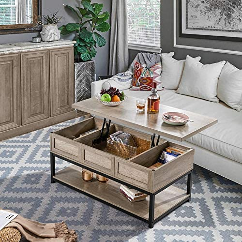 Lift Top Coffee Table With Hidden Compartment And Open Storage Shelf Furniture Storey