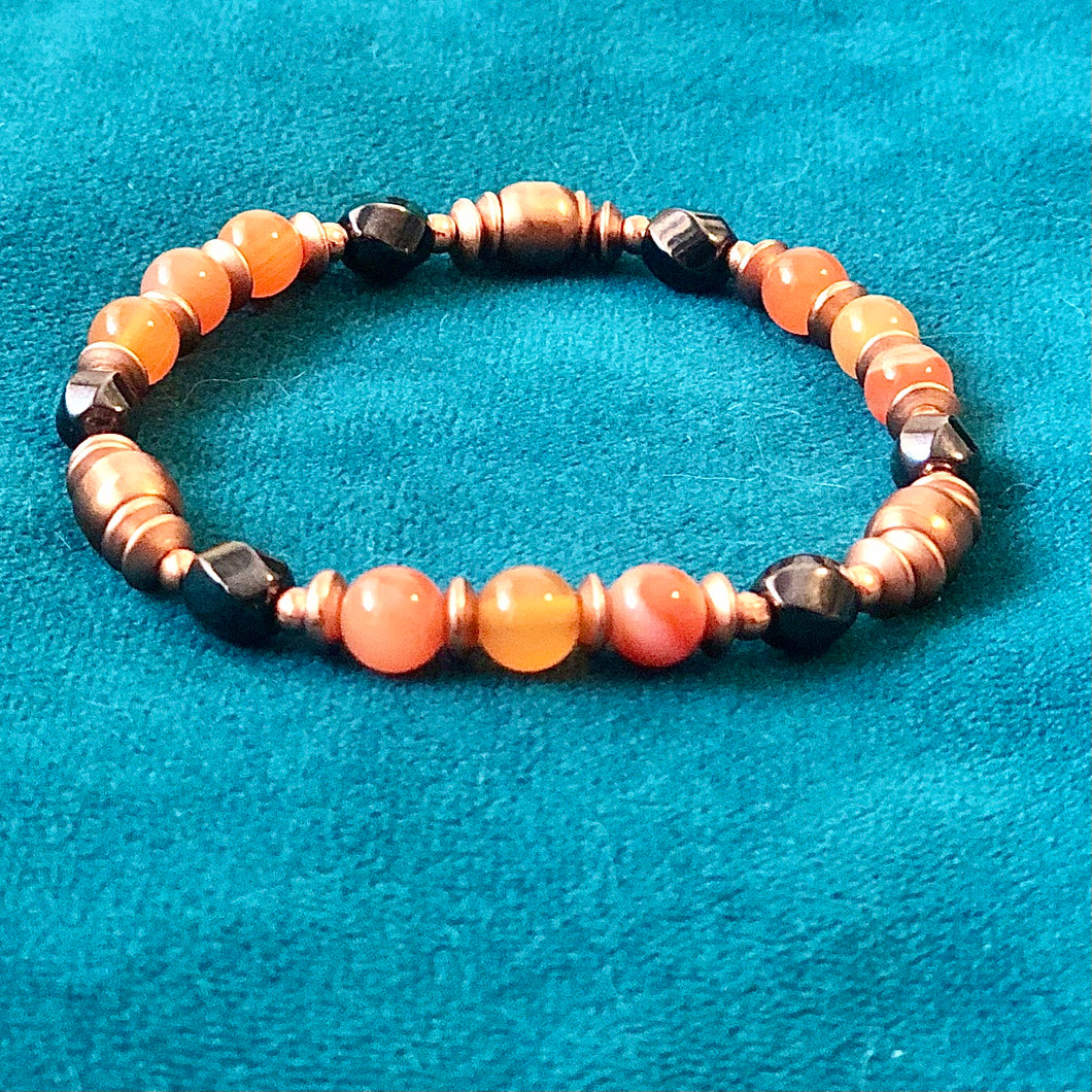 Copper+Magentic Therapy Mala Bracelet with Carnelian