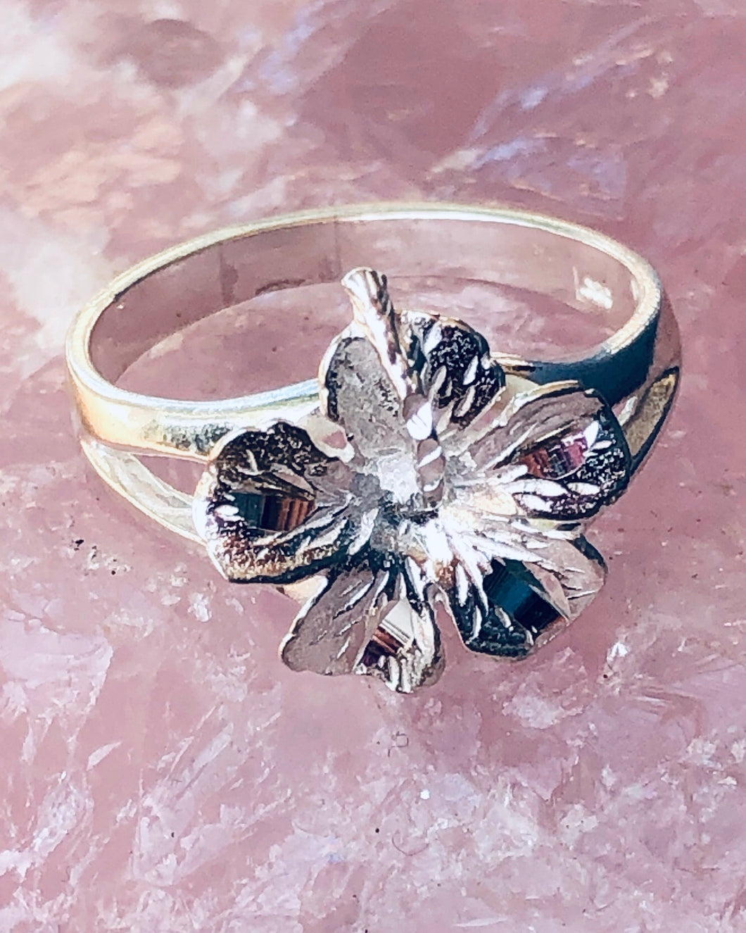 Hibiscus Ring  .925 Sterling Silver