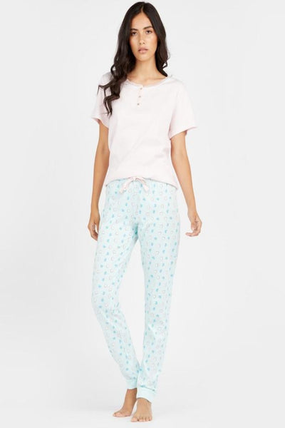 Solid Round Neck T-shirt with Full Length Pyjama Set