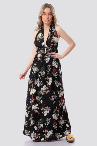 Floral Backless Halter neck Maxi Dress - Multicolor