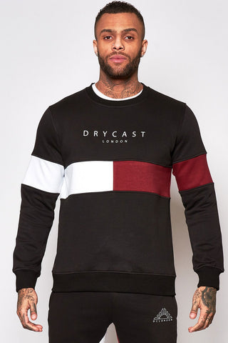Black sweater with red & white stripe