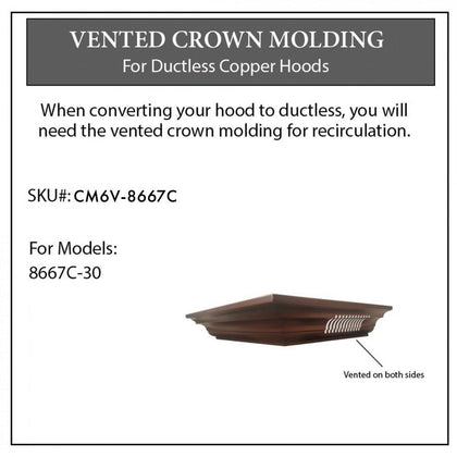 ZLINE Vented Crown Molding Profile 6 for Wall Mount Range Hood (CM6V-8667C)