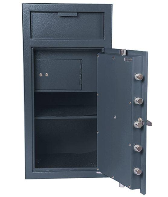 Hollon Safe FD-4020CILK Front Drop w/Inner Locking Compartment Safes, Steel, Gray