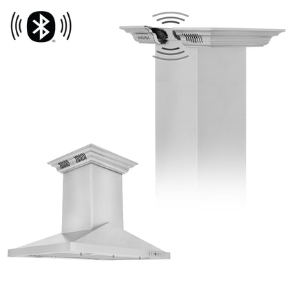 ZLINE Island Mount Range Hood in Stainless Steel with Built-in CrownSound® Bluetooth Speakers (GL1iCRN-BT)