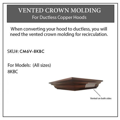 ZLINE Vented Crown Molding Profile 6 for Wall Mount Range Hood (CM6V-8KBC)
