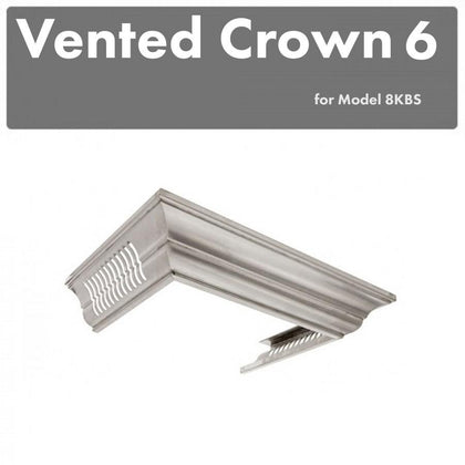 ZLINE Vented Crown Molding Profile 6 for Wall Mount Range Hood in DuraSnow® Stainless Steel (CM6V-8KBS)