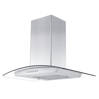 ZLINE Wall Mount Range Hood In Stainless Steel & Glass With Crown Molding (KZCRN)