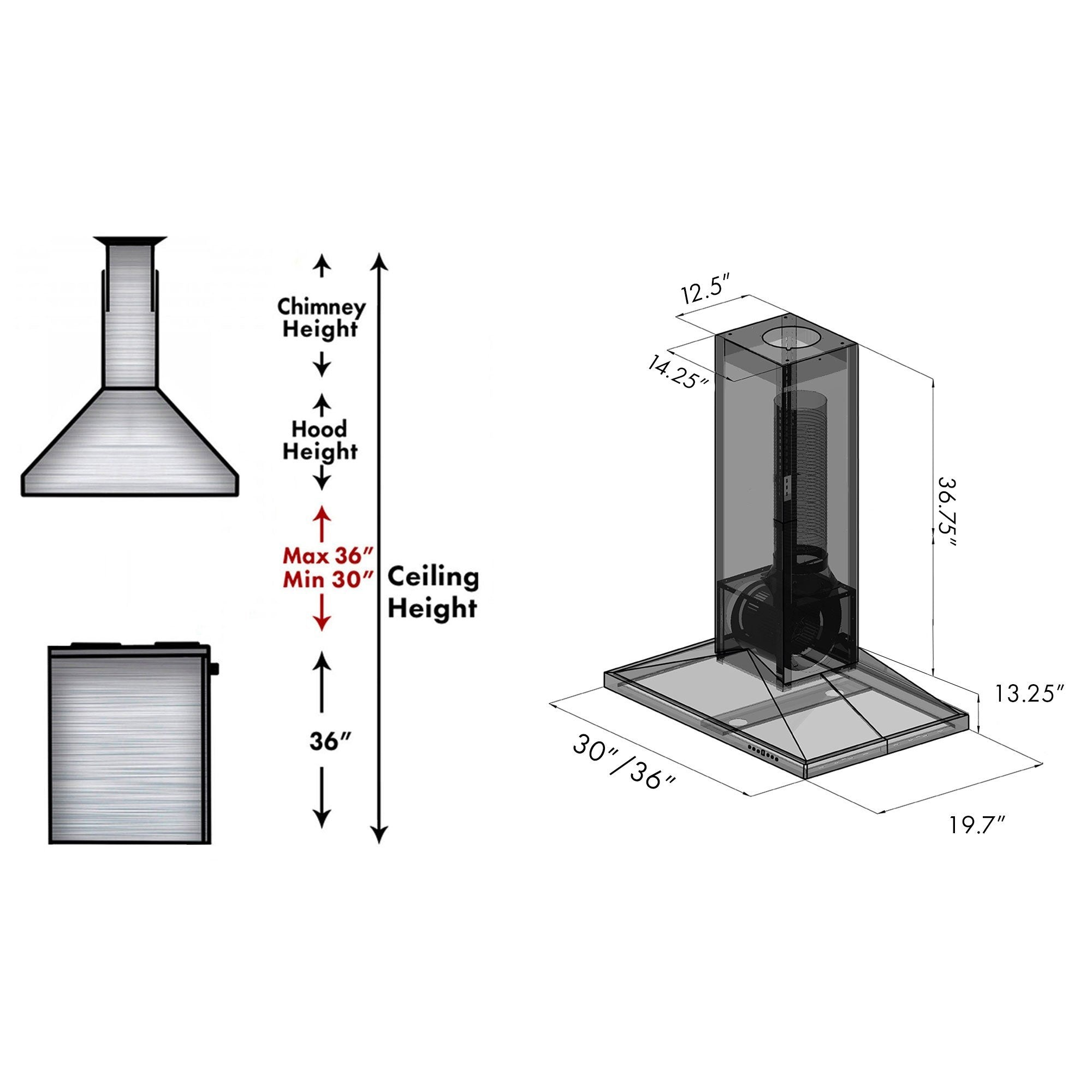ZLINE Wooden Island Mount Range Hood in Gray - Includes Remote Motor (KBiUU-RS-400)