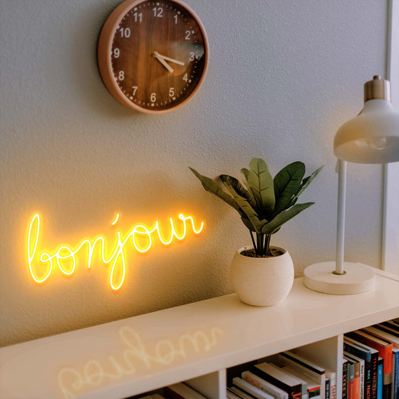 LED ''Bonjour'' neon sign in warm white
