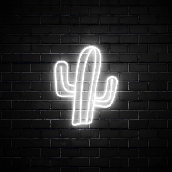 Cactus LED white neon sign wall art for interior