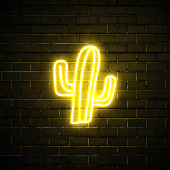 Cactus LED yellow neon sign wall art for interior