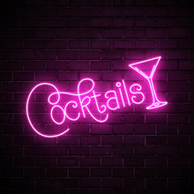 Cocktails with a glass LED pink neon sign wall art for party