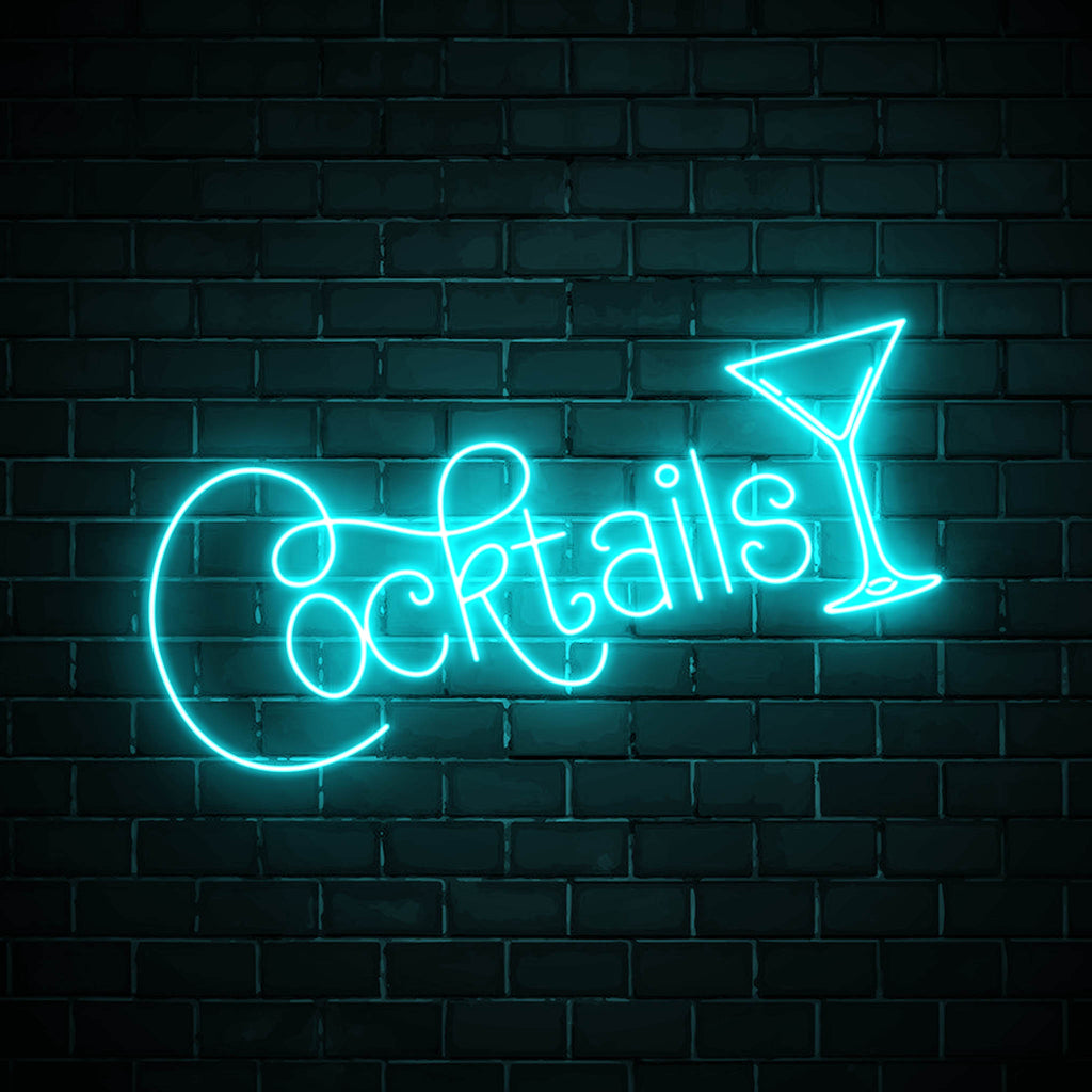 Cocktails with a glass LED blue neon sign wall art for party