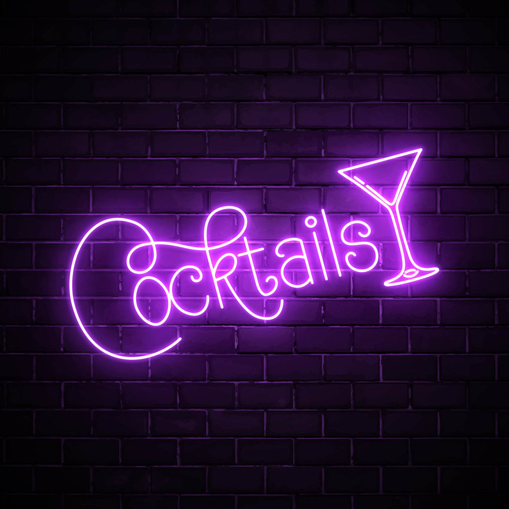 Cocktails with a glass LED purple neon sign wall art for party