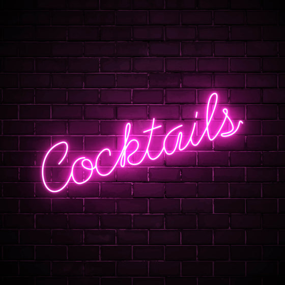 Cocktails LED pink neon sign wall art for party