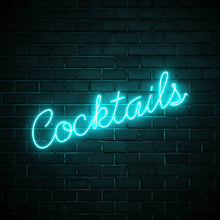 Cocktails LED blue neon sign wall art for interior