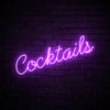 Cocktails LED purple neon sign wall art for party