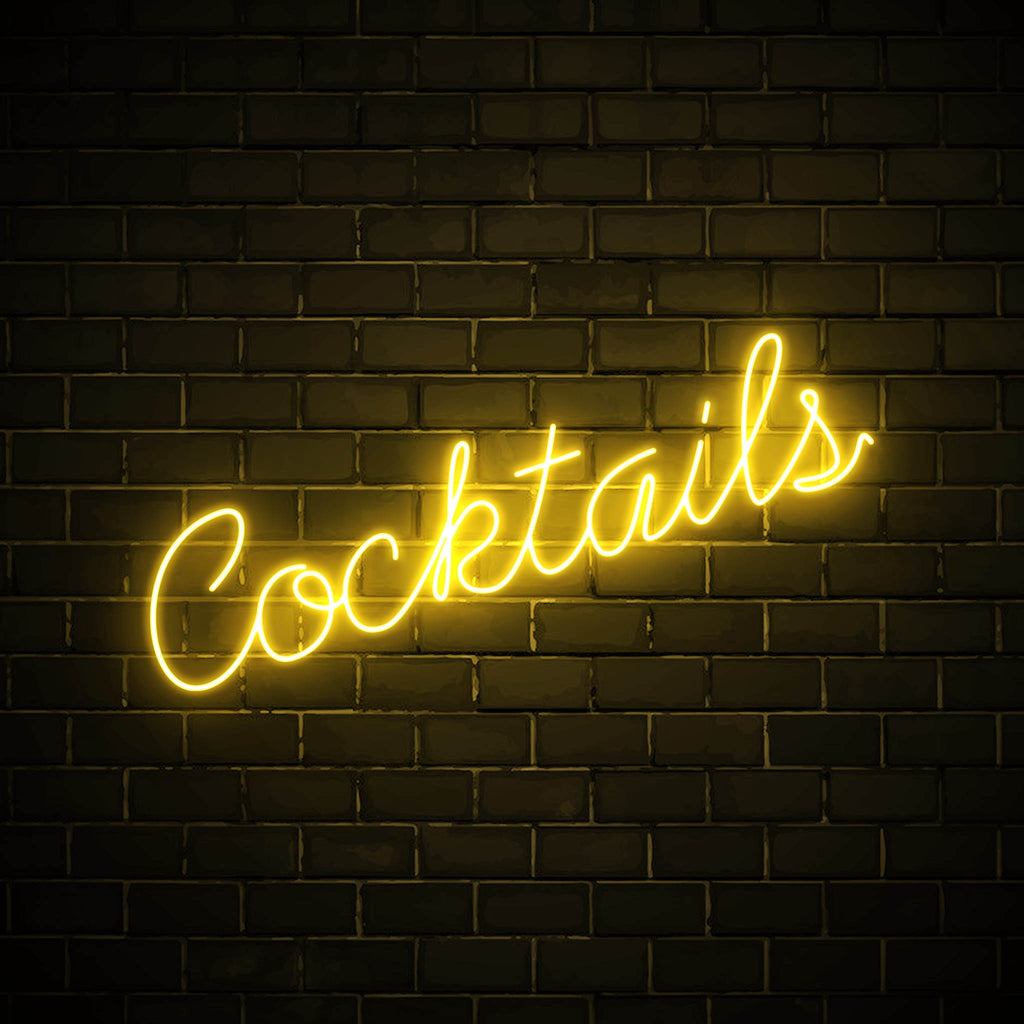 Cocktails LED yellow neon sign wall art for party