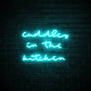 Cuddles in the Kitchen LED blue neon sign wall art for kitchen