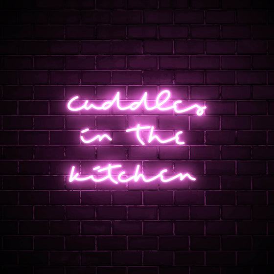 Cuddles in the Kitchen LED pink neon sign wall art for kitchen