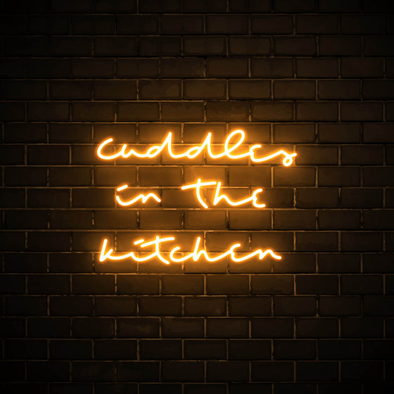 Cuddles in the Kitchen LED orange neon sign wall art for kitchen
