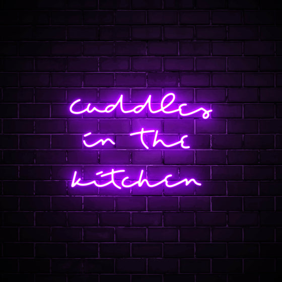 Cuddles in the Kitchen LED purple neon sign wall art for kitchen