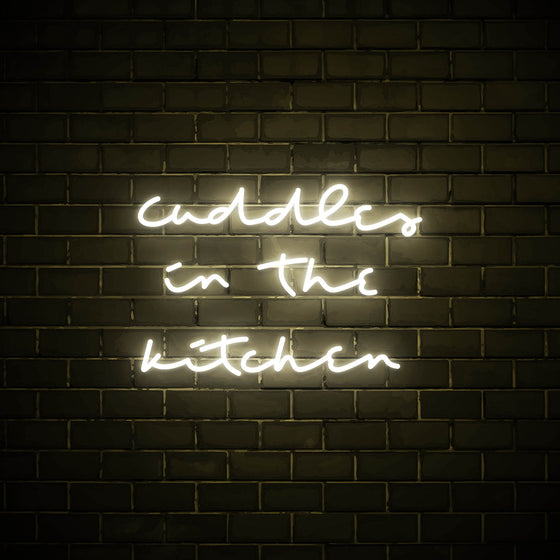 Cuddles in the Kitchen LED white neon sign wall art for kitchen