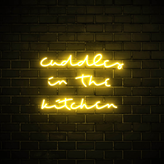 Cuddles in the Kitchen LED yellow neon sign wall art for kitchen