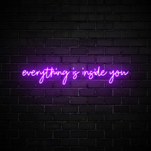 Everything is inside you LED purple neon sign wall art for home